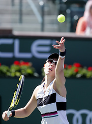 March 7, 2019 - Los Angeles, California, U.S - Saisai Zheng of China, serves the ball to Kristina Mladenovic of France, during the women singles first round match of the BNP Paribas Open tennis tournament on Thursday, March 7, 2019 in Indian Wells, California. Mladenovic won 2-0. (Credit Image: © Ringo Chiu/ZUMA Wire)