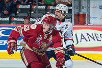 REGINA, SK - MAY 20: Noah Dobson #53 of Acadie-Bathurst Titan is checked by Sam Steel #23 of Regina Pats at the Brandt Centre on May 20, 2018 in Regina, Canada. (Photo by Marissa Baecker/CHL Images)