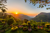 Sunrise,  Ella Rock and the Ella Gap from the Ambiente Guest House, Ella, Uva Province, Sri Lanaka.