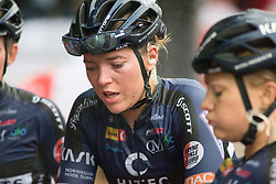 Thea Thorsen (NOR) of Hitec Products Cycling Team cools down after finishing the Prudential Ride London Classique - a 66 km road race, starting and finishing in London on July 29, 2017, in London, United Kingdom. (Photo by Balint Hamvas/Velofocus.com)