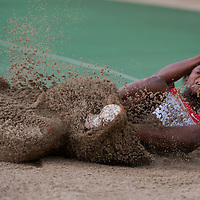 Blessing Okagbare from Nigeria competes in women's long jumping she won with 6.84 meters during the Istvan Gyulai Memorial Hungarian Athletics Grand Prix 2011, in the Ferenc Puskas Stadium in Budapest, Hungary on July 30, 2011. ATTILA VOLGYI