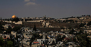 The view of the Old City of Jesusalem showing the Dome of The Rock.<br /> Photo by Dennis Brack