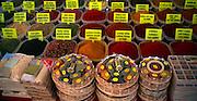 Large variety of spices on sale at Fethiye market, Turkey