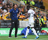 Football - 2021 / 2022 Premier League - Wolverhampton Wanderers vs Brentford - Molyneux Stadium - Saturday 198th September 2021<br /> <br /> Brentford Manager, Thomas Frank consoles Shandon Baptiste after being sent off<br /> <br /> Credit : COLORSPORT/Andrew Cowie