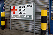 German Red Cross (Deutches Rotes Kreuz - DRK) vehicle logos at their logistics centre at Berlin-Schönefeld airport.