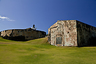 Looking up at the fortifications of Castillo San Felipe del Morro in Old San Juan.