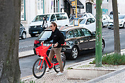 Uber Jump city bike, ebike rental service. Photographed in Bairro Alto, Lisbon, Portugal