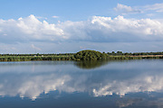 June 30, 2014 - Budel, Noord-Brabant, Netherlands - The Ring-Bank near the lake shore of the southern city of Holland, reflecting alongside the sky in the lake's water. (Credit Image: © Vedat Xhymshiti/ZUMA Wire)