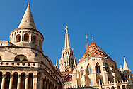 Fishermans Bastion and Church of Our Lady or Matthias Church ( Mátyás templom), Castle District, Budapest Hungary .<br /> <br /> Visit our HUNGARY HISTORIC PLACES PHOTO COLLECTIONS for more photos to download or buy as wall art prints https://funkystock.photoshelter.com/gallery-collection/Pictures-Images-of-Hungary-Photos-of-Hungarian-Historic-Landmark-Sites/C0000Te8AnPgxjRg