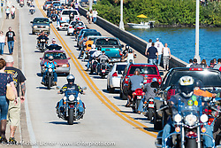 Traffic on the Main Street Bridge as bikes and cars try to get onto Main Street for Biketoberfest, Daytona Beach, FL, October 18, 2014, photographed by Michael Lichter. ©2014 Michael Lichter