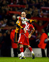 Fotball<br /> Foto: Propaganda/Digitalsport<br /> NORWAY ONLY<br /> <br /> Liverpool, England - Tuesday, March 6, 2007: Liverpool's goalkeeper Jose Reina and Jermaine Pennant celebrate victory over FC Barcelona during the UEFA Champions League First Knockout Round 2nd Leg at Anfield.