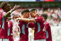 May 27, 2019 - London, England, United Kingdom - Anwar El Ghazi (22) of Aston Villa celebrates with Jack Grealish (10) of Aston Villa after scoring a goal to make it 1-0 during the Sky Bet Championship match between Aston Villa and Derby County at Wembley Stadium, London on Monday 27th May 2019. (Credit: Jon Hobley | MI News) (Credit Image: © Mi News/NurPhoto via ZUMA Press)