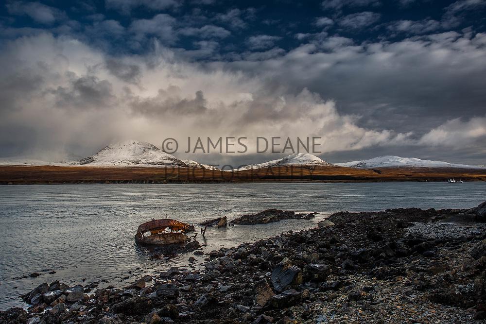The skeletal remains of trawler, MV Wyre Majestic. Photographed near Bunnahabhain, Islay in February 2018