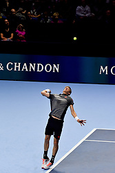 November 15, 2018 - London, England, United Kingdom - Kevin Anderson of South Africa serves the court during his round robin match against Roger Federer of Switzerland during Day Five of the Nitto ATP Finals at The O2 Arena on November 15, 2018 in London, England. (Credit Image: © Alberto Pezzali/NurPhoto via ZUMA Press)