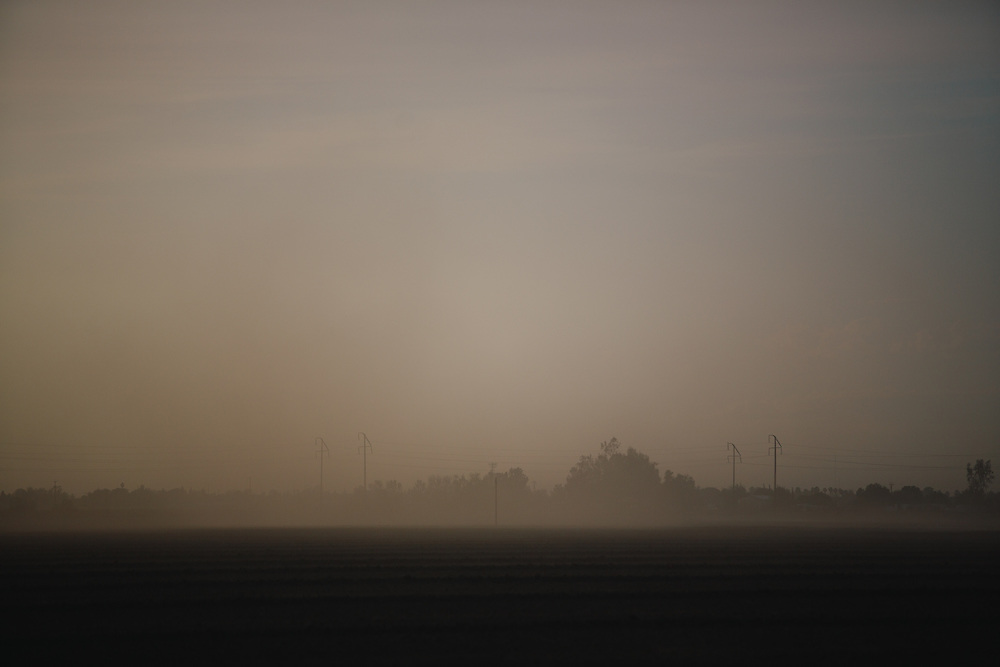 A dust storm blows through Arvin, California, south of Bakersfield.