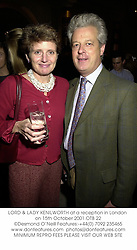 LORD & LADY KENILWORTH at a reception in London on 15th October 2001.OTB 22