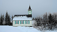 Winter View of the Thingvellir (Þingvellir) Church. Thingvellir (Þingvellir) National Park. Image taken with a Fuji X-T1 camera and 23 mm f/1.4 lens (ISO 200, 23 mm, f/5.6, 1/250 sec).