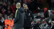 Manchester City Manager Pep Guardiola and Jurgen Klopp manager of Liverpool  during the English Premier League match at Anfield Stadium, Liverpool. Picture date: December 31st, 2016. Photo credit should read: Lynne Cameron/Sportimage