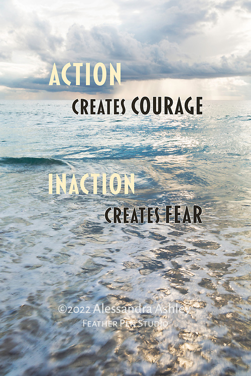 """Wave approaching shore on Jensen Beach, Florida's Treasure Coast, with crepuscular rays in sky just after sunrise. Paired with motivational verse, """"Action creates courage; inaction creates fear."""""""