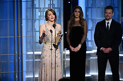 "Jan 8, 2017 - Beverly Hills, California, U.S - EMMA STONE accepts the Golden Globe Award for BEST PERFORMANCE BY AN ACTRESS IN A MOTION PICTURE – COMEDY OR MUSICAL for her role in ""La La Land"" at the 74th Annual Golden Globe Awards at the Beverly Hilton in Beverly Hills, CA on Sunday, January 8, 2017. (Credit Image: ? HFPA/ZUMAPRESS.com)"