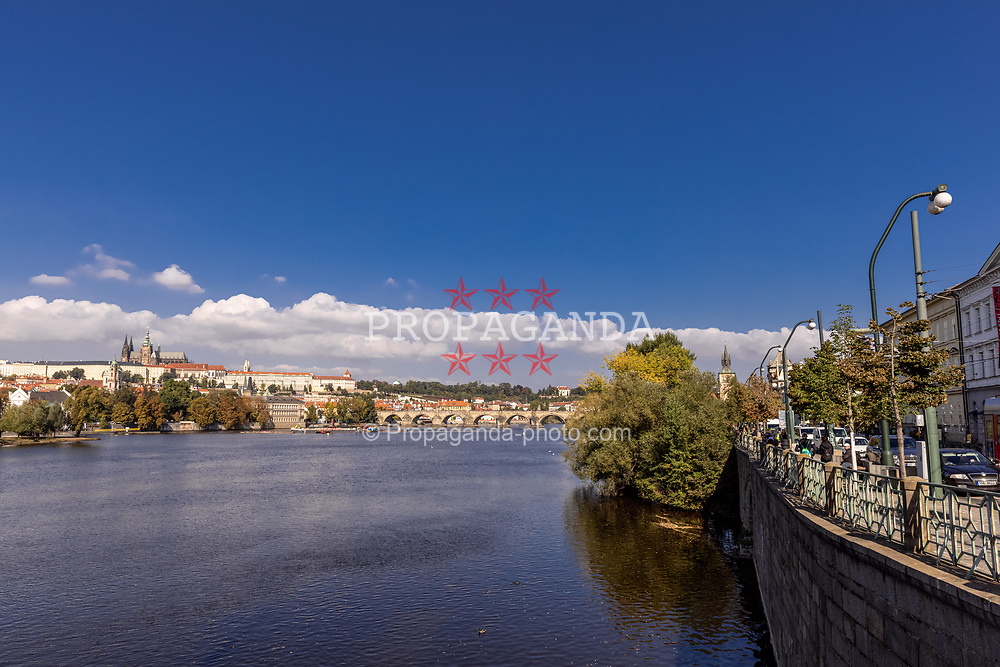 PRAGUE, CZECH REPUBLIC - Friday, October 8, 2021: The river Vltava with Charles Bridge and Prague castle. (Pic by David Rawcliffe/Propaganda)