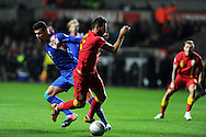 Joe Ledley of Wales is fouled by Croatia's Dejan Lovren  and a penalty is awarded. FIFA World cup 2014 qualifier, group A , Wales v Croatia at the Liberty Stadium in Swansea, South Wales on Tuesday 26th March 2013. pic by Andrew Orchard, Andrew Orchard sports photography,