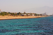 Almog (Coral) beach Eilat, Israel. A large coral reserve can be seen under the Red Sea