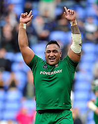 Halani Aulika of London Irish celebrates at the final whistle - Photo mandatory by-line: Patrick Khachfe/JMP - Mobile: 07966 386802 12/04/2015 - SPORT - RUGBY UNION - Reading - Madejski Stadium - London Irish v Sale Sharks - Aviva Premiership