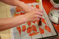 """Lenotre Ecole Culinaire, Paris,..short course - """"Return to the Market"""" with Chef Jacky Legras..tomato skins for decoration of tartalette..photo by Owen Franken for the NY Times..July 12, 2007......."""