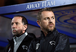 Derby County manager Gary Rowett (right) and assistant Kevin Summerfield during the Sky Bet Championship match at Loftus Road, London.