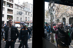 © London News Pictures. 14/11/2015. Bullet holes in plate glass windows of La Bell Equipe and Shushi Maki the day after multiple terror attacks on the French capital. Photo credit: Guilhem Baker/LNP
