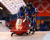 Photo: Catrine Gapper.<br />Winter Olympics, Turin 2006. Womens Bobsleigh. 21/02/2006. <br />Gerda Weissensteiner and Jennifer Isacco of Italy.