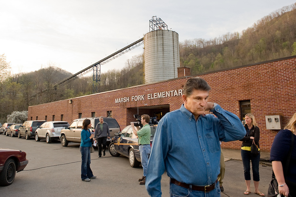 West Virginia Governor XXXX XXXXXX prepares for a round of TV interviews at Marsh Fork Elementary School in Montcoal, WV on Wednesday, April 7, 2010.