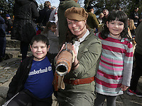 Enid Monaghan, from Clondalkin, dressed as a member of Cumann na Mban with ruth, 6, and Conor, 12, Carberry, from New Ross in St Stephens green, Dublin as part of RTE's reflecting the rising celebrations. Picture credit; Damien Eagers 28/3/2016