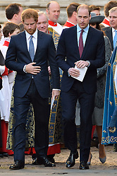 © Licensed to London News Pictures. 14/03/2016. Prince Harry and William, Duke of Cambridge attend the Commonwealth Day Observance Service At Westminister Abbey. The annual multi-faith service is a celebration of the Commonwealth London, UK.  Photo credit: Ray Tang/LNP