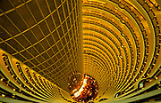 The Grand  Hyatt Hotel's  Atrium inside the Jin Mao Tower, looking down, Pudong, Shanghi, China