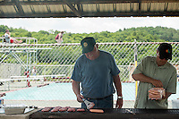 BBQ lunch preparation for the 70th anniversary celebration for the Kiwanis Pool in St. Johnsbury Vermont.  Karen Bobotas / for Kiwanis International