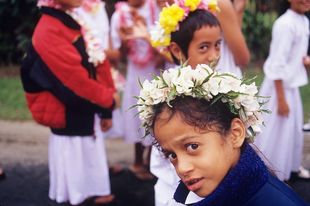Cook Islands, K?ki '?irani, South Pacific Ocean, Rarotonga, native islanders wearing lei at local church celebration