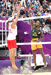 Freedom Chiya of South Africa and Mariusz Prudel of Poland battle at the net during the preliminary phase - Pool D Beach Volleyball match between Poland and South Africa held at the Horse Guards Parade Stadium in London as part of the London 2012 Olympics on the 1st August 2012..Photo by Ron Gaunt/SPORTZPICS