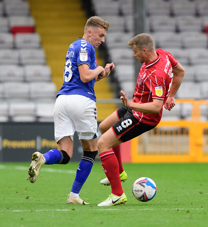 Lincoln City's James Jones vies for possession with Charlton Athletic's Alfie Doughty<br /> <br /> Photographer Chris Vaughan/CameraSport<br /> <br /> The EFL Sky Bet League One - Lincoln City v Charlton Athletic - Sunday 27th September, 2020 - LNER Stadium - Lincoln<br /> <br /> World Copyright © 2020 CameraSport. All rights reserved. 43 Linden Ave. Countesthorpe. Leicester. England. LE8 5PG - Tel: +44 (0) 116 277 4147 - admin@camerasport.com - www.camerasport.com