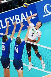 11.09.2011, O2 Arena, Prag, CZE, Europameisterschaft Volleyball Maenner, Vorrunde D, Deutschland (GER) vs Slowakei (SVK), im Bild Lukas Divis (#18 SVK), Tomas Kmet (#14 SVK) - Bjoern/Björn Andrae (#5 GER / Kemerovo RUS) // during the 2011 CEV European Championship, Germany vs Slovakia at O2 Arena, Prague, 2011-09-11. EXPA Pictures © 2011, PhotoCredit: EXPA/ nph/  Kurth       ****** out of GER / CRO  / BEL ******