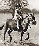 Princess Elizabeth (Elizabeth II of Great Britain from 1952) as a child, riding her pony in Windsor Great Park Windsor