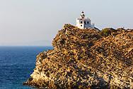 Naousa, Paros, Greece - July 2021: Lighthouse located in Paros Park area