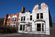 A derelict building, formerly a hotel destroyed by a fire in 2011. The Knowle Lodge hotel, Hagley Road,  Edgbaston, Birmingham, United Kingdom.