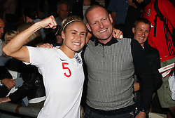 England Women's Steph Houghton celebrates victory with her father James and her husband Stephen Darby (back right) after the FIFA Women's World Cup qualifying, group 1 match at Rodney Parade, Newport.