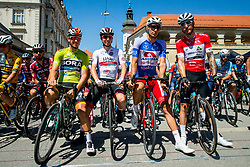 Pascal Ackermann (GER) of Bora - Hansgrohe, Tadej Pogacar (SLO) of UAE Team Emirates, Aljaz Jarc (SLO) of Adria Mobil and Giacomo Nizzolo (ITA) of Team Dimension Data during with mascot of Bahrain Merida during 2nd Stage of 26th Tour of Slovenia 2019 cycling race between Maribor and  Celje (146,3 km), on June 20, 2019 in Celje, Maribor, Slovenia. Photo by Vid Ponikvar / Sportida