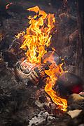 Mask on fire during Fire Festival in Nozawaonsen, Japan