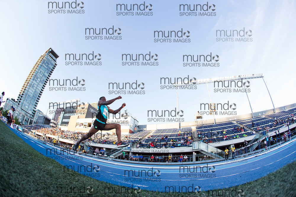 Toronto, ON -- 10 August 2018: Kaiwan Culmer (Bahamas), triple jump at the 2018 North America, Central America, and Caribbean Athletics Association (NACAC) Track and Field Championships held at Varsity Stadium, Toronto, Canada. (Photo by Sean Burges / Mundo Sport Images).