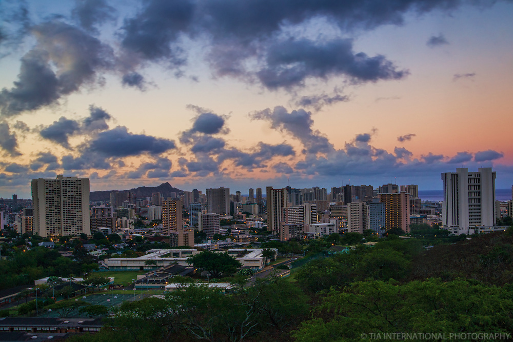 Honolulu Skyline from Punchbowl Crater @ Dawn