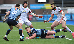 Matthew Rees of Cardiff Blues passes the ball to Tomos Williams of Cardiff Blues - Mandatory by-line: Nizaam Jones/JMP- 24/03/2018 - RUGBY - BT Sport Cardiff Arms Park- Cardiff, Wales - Cardiff Blues v Ulster Rugby - Guinness Pro 14